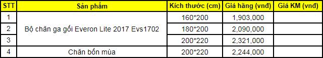 Bảng giá bộ chăn ga gối Everon Lite 2017 Evs1702