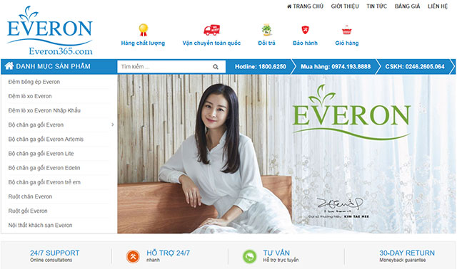 Mua chăn ga gối đệm Everon online tại Everon365